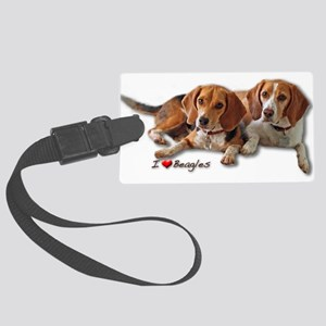 Two Beagles Large Luggage Tag