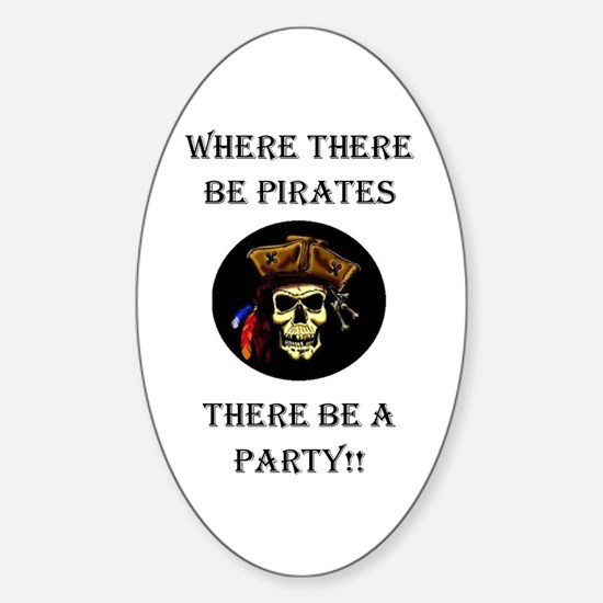 PartyPirate2a.jpg Sticker (Oval)
