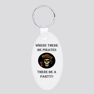 PartyPirate2a Aluminum Oval Keychain