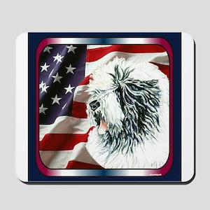 Old English Sheepdog US Flag Mousepad
