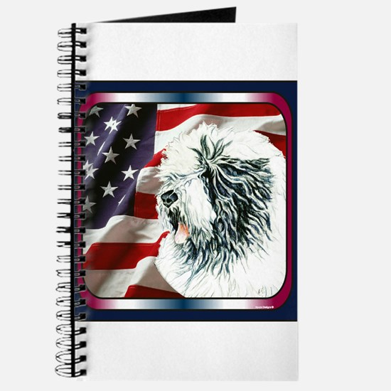 Old English Sheepdog US Flag Journal