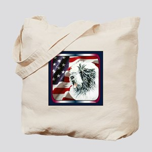 Old English Sheepdog US Flag Tote Bag