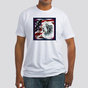 Old English Sheepdog US Flag Fitted T-Shirt
