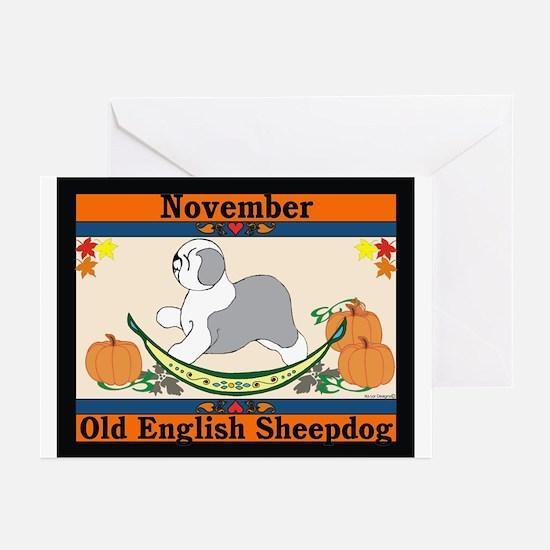 Old English Sheepdog Calendar Greeting Cards (Pack