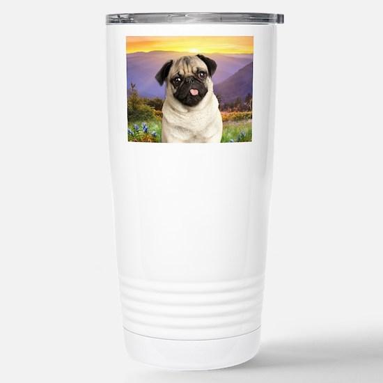 Pug Meadow Stainless Steel Travel Mug