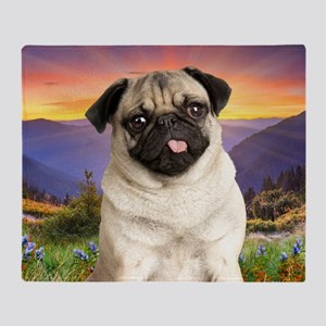 Pug Meadow Throw Blanket