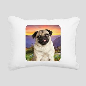 Pug Meadow Rectangular Canvas Pillow