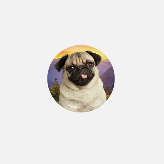 Pug Meadow Mini Button