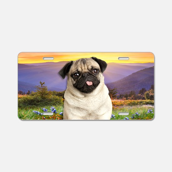 Pug Meadow Aluminum License Plate