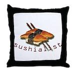 humorous sushi Throw Pillow