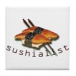 humorous sushi Tile Coaster