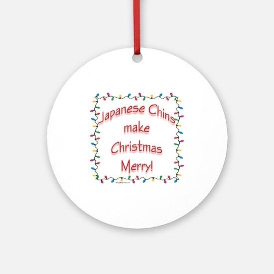 Merry Japanese Chin Ornament (Round)