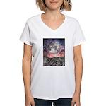 Moon Over Mountain Lake Women's V-Neck T-Shirt