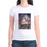 Moon Over Mountain Lake Jr. Ringer T-Shirt