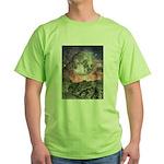 Moon Over Mountain Lake Green T-Shirt
