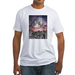 Moon Over Mountain Lake Fitted T-Shirt