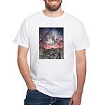 Moon Over Mountain Lake White T-Shirt