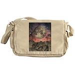 Moon Over Mountain Lake Messenger Bag
