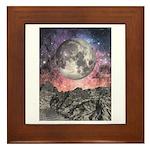 Moon Over Mountain Lake Framed Tile