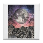 Moon Over Mountain Lake Tile Coaster