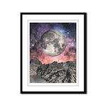 Moon Over Mountain Lake Framed Panel Print