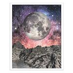 Moon Over Mountain Lake Small Poster