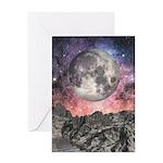 Moon Over Mountain Lake Greeting Card