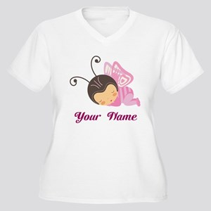 Personalized Butterfly Women's Plus Size V-Neck T-