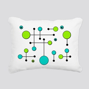 Lime & Teal Dot Dash Rectangular Canvas Pillow