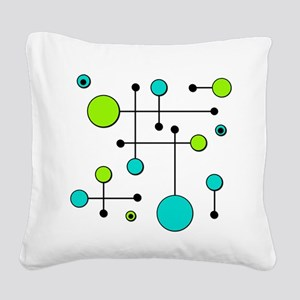 Lime & Teal Dot Dash Square Canvas Pillow