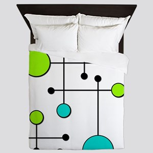 Lime & Teal Dot Dash Queen Duvet