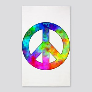 Retro tie-dyed peace sign 3'x5' Area Rug