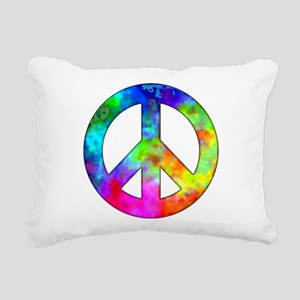 Retro tie-dyed peace sign Rectangular Canvas Pillo