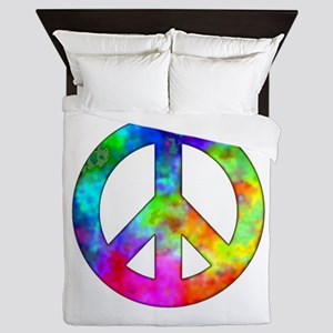 Retro tie-dyed peace sign Queen Duvet