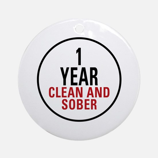 1 Year Clean & Sober Ornament (Round)