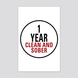 1 Year Clean & Sober Mini Poster Print