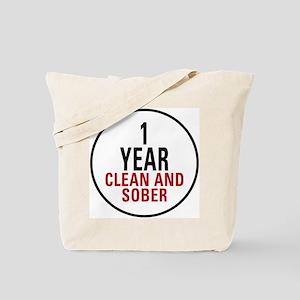 1 Year Clean & Sober Tote Bag