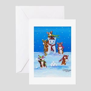 Snow Corgis III Greeting Cards
