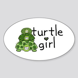 turtle girl Oval Sticker