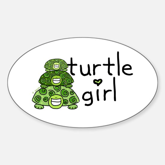 turtle girl Oval Decal