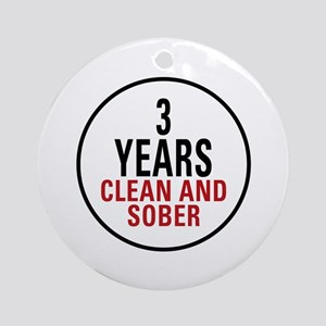 3 Years Clean & Sober Ornament (Round)
