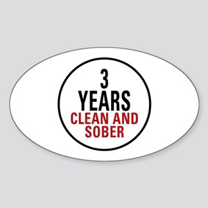 3 Years Clean & Sober Oval Sticker
