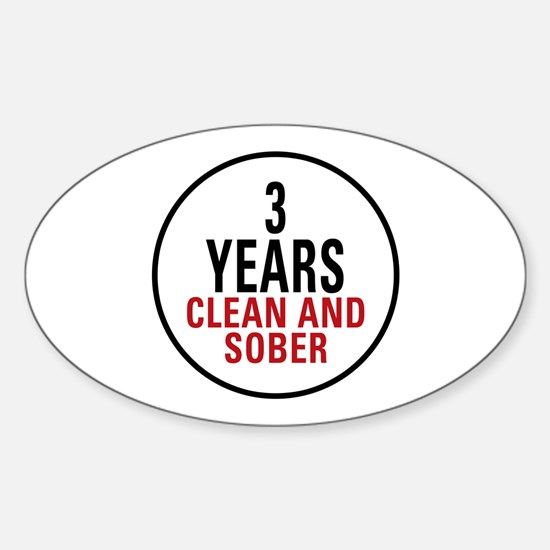 3 Years Clean & Sober Oval Decal