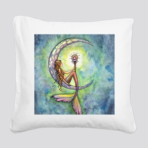 Mermaid Moon Fantasy Art Square Canvas Pillow