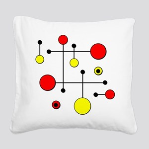 Red & Yellow Dot Dash Square Canvas Pillow