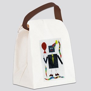 Pin-Striped Robot Canvas Lunch Bag