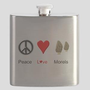 Peace Love Morels Flask