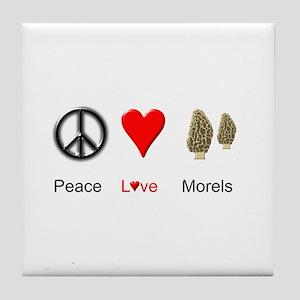 Peace Love Morels Tile Coaster