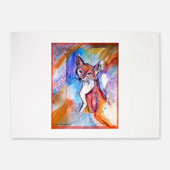 Fox, wildlife art! 5'x7'Area Rug