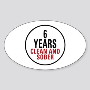 6 Years Clean & Sober Oval Sticker